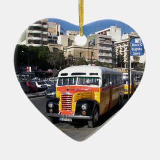Classic Thames Bus on the streets. Ceramic Heart Decoration