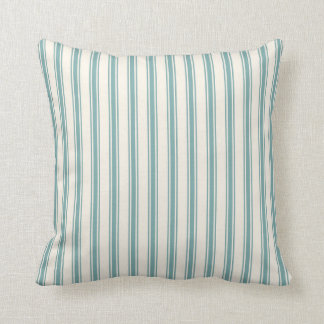 Classic Ticking Stripe Pattern Green and Cream Throw Pillow