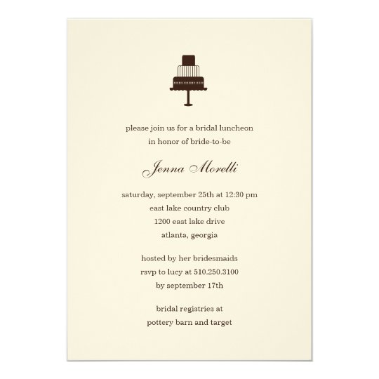 Classic Tiered Cake Bridal Shower Invitation