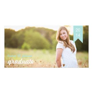 Classic Tiffany Blue Graduation Announcement Custom Photo Card