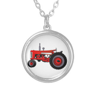 Classic Tractor Silver Plated Necklace
