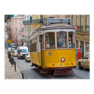 Classic tram in Lisbon, Portugal. Postcard