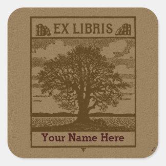 Classic Tree with Books Ex Libris Bookplate Square Sticker