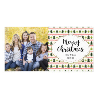 Classic Trees Pattern Christmas Picture Photo Card