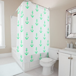 Classic Tropical Green Nautical Anchors on White Shower Curtain