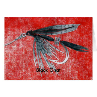 """Classic Trout Fly  Card """"Black Gnat"""""""