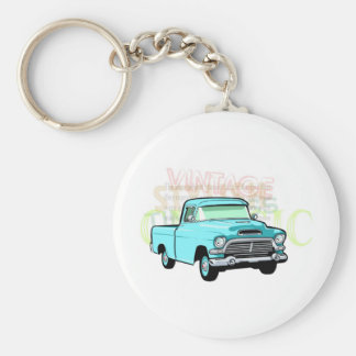 Classic truck in blue, very old semi pickup basic round button key ring