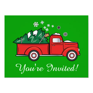 Classic Truck with Christmas Tree in the Snow Card