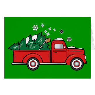 Classic Truck with Holiday Tree in the Snow Card