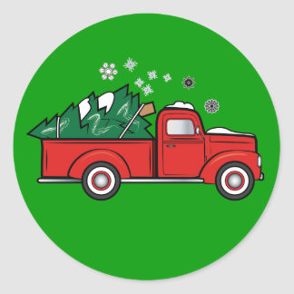 Classic Truck with Holiday Tree in the Snow Classic Round Sticker
