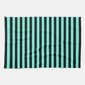 Classic Turquoise and Black Stripe Pattern Tea Towel