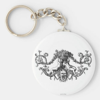 Classic Two Cherubs with Ivy and Flowers Basic Round Button Key Ring