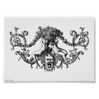 Classic Two Cherubs with Ivy and Flowers Poster
