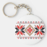 Classic Ugly Christmas Sweater Print Basic Round Button Key Ring