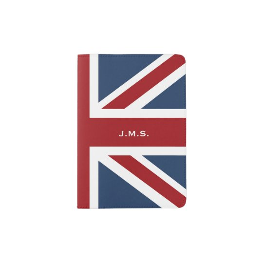 Classic Union Jack Flag Monogrammed Passport Holder