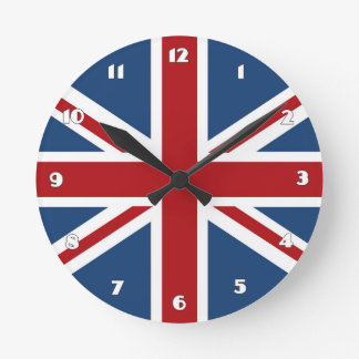 Classic Union Jack UK Flag Round Clock