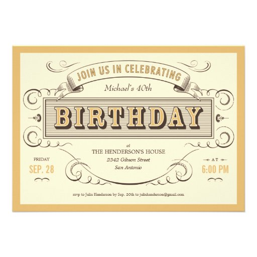 Classic Vintage Birthday Invitations