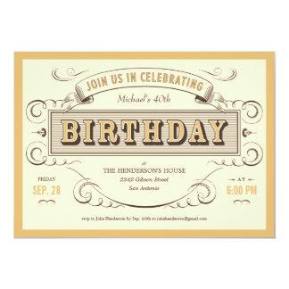 Classic Vintage Birthday Invitations