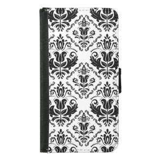Classic Vintage Black White Damask Pattern Samsung Galaxy S5 Wallet Case