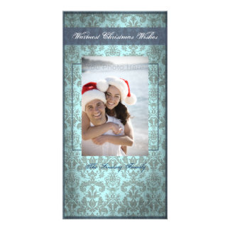 Classic vintage blue christmas card photo card template