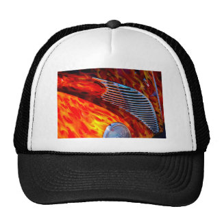 Classic Vintage Car Flame Paint Chrome Red Mesh Hats