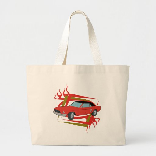 Classic Vintage Car Red and Black Canvas Bag
