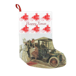 CLASSIC ,VINTAGE CARS,ELEGANT LADIES Happy Xmas Small Christmas Stocking