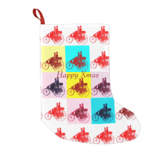 CLASSIC ,VINTAGE CARS GATHERING POP ART Happy Xmas Small Christmas Stocking