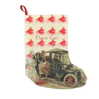 CLASSIC ,VINTAGE CARS WITH ELEGANT LADIES Red Small Christmas Stocking