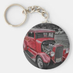 Classic Vintage Custom Classic Red Hot Rod HDR Key Chain