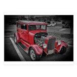 Classic Vintage Custom Classic Red Hot Rod HDR Postcard