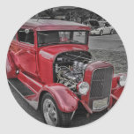 Classic Vintage Custom Classic Red Hot Rod HDR Classic Round Sticker
