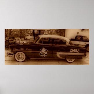 Classic Vintage D.A.R.E Police Car Poster