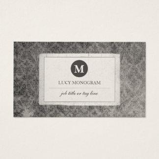 Classic Vintage Damask Monogram (Grey Pearl) Business Card