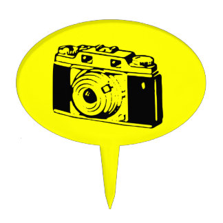 Classic/Vintage Film Camera Upon Yellow Backround Cake Pick