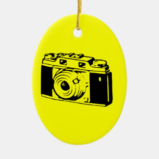Classic/Vintage Film Camera Upon Yellow Backround Ornaments