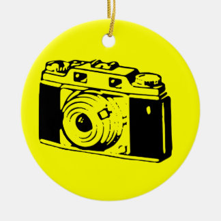 Classic/Vintage Film Camera Upon Yellow Backround Christmas Tree Ornament