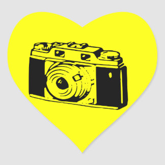 Classic/Vintage Film Camera Upon Yellow Backround Heart Sticker