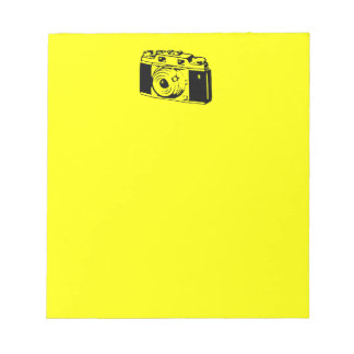 Classic/Vintage Film Camera Upon Yellow Backround Memo Note Pad