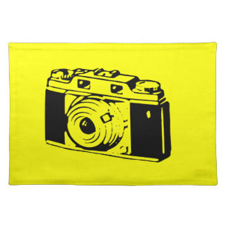 Classic Vintage Film Camera Upon Yellow Backround Placemats