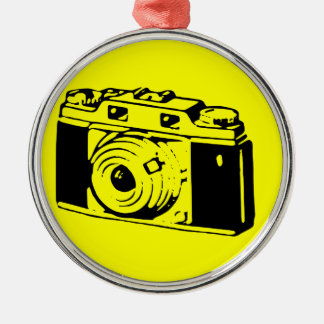 Classic/Vintage Film Camera Upon Yellow Backround Silver-Colored Round Decoration