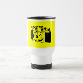 Classic/Vintage Film Camera Upon Yellow Backround Stainless Steel Travel Mug