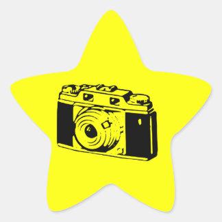 Classic/Vintage Film Camera Upon Yellow Backround Star Sticker