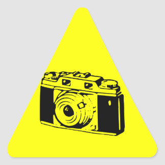 Classic/Vintage Film Camera Upon Yellow Backround Triangle Sticker