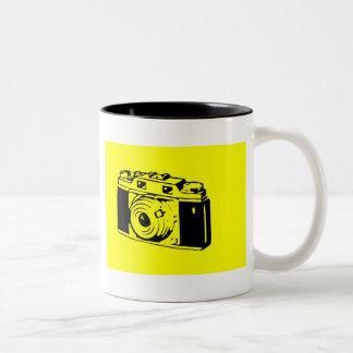 Classic/Vintage Film Camera Upon Yellow Backround Two-Tone Mug