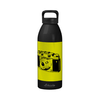 Classic Vintage Film Camera Upon Yellow Backround Reusable Water Bottle