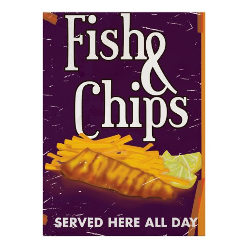 Classic Vintage Fish and chips Poster