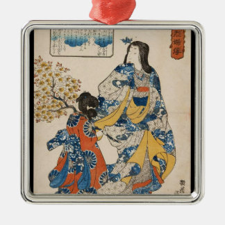 Classic vintage geisha ukiyo-e Utagawa scroll Christmas Ornament