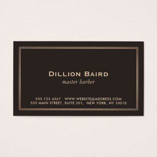 Classic Vintage Gold Border Dark Brown Business Card