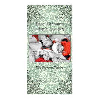 Classic vintage green christmas card personalised photo card